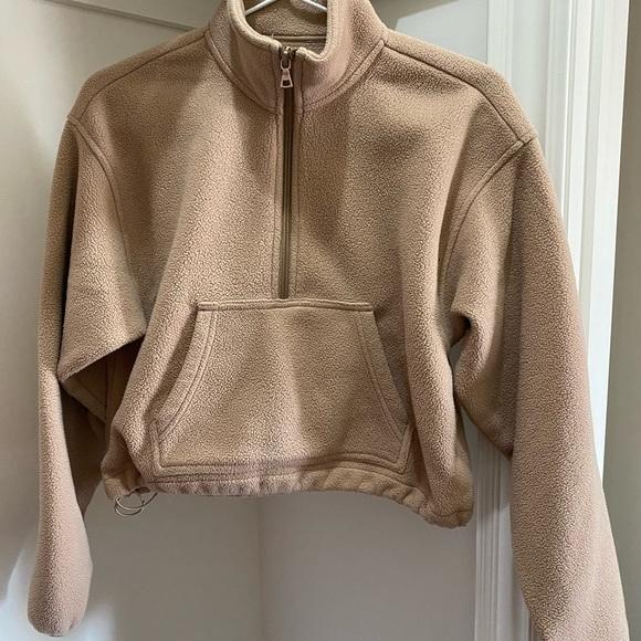 tna beige fleece crop half zip